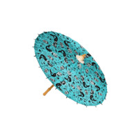 Keep the sun off your back while you walk the boardwalk with our Mermaids Parasol. Featuring some sultry sirens and the sailors they took down on a light blue parasol. Made of non-oiled paper with a wooden handle.