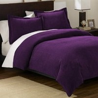 Chezmoi Collection 3-pieces Solid Purple Soft Micro Suede Comforter with Shams Set Queen Size