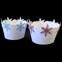 Frozen Inspired Cupcake Wrappers - Snowflake Cupcake Wrappers - Pack of 12