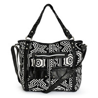 T-Shirt & Jeans Abby Black & White Woven Tribal Tote Bag