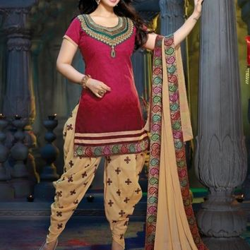 Blooming Maroon & Beige Brown Embroidered Suit - Manjaree - Brands
