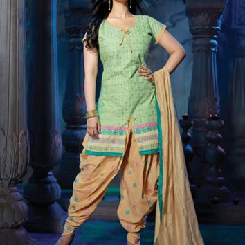 Green & Cream Tantalizing Suit With Lace Work - Manjaree - Brands