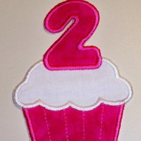 Large 1st or 2nd birthday cupcake in hot pink iron on applique patch | UniqueEmbroideries - Accessories on ArtFire