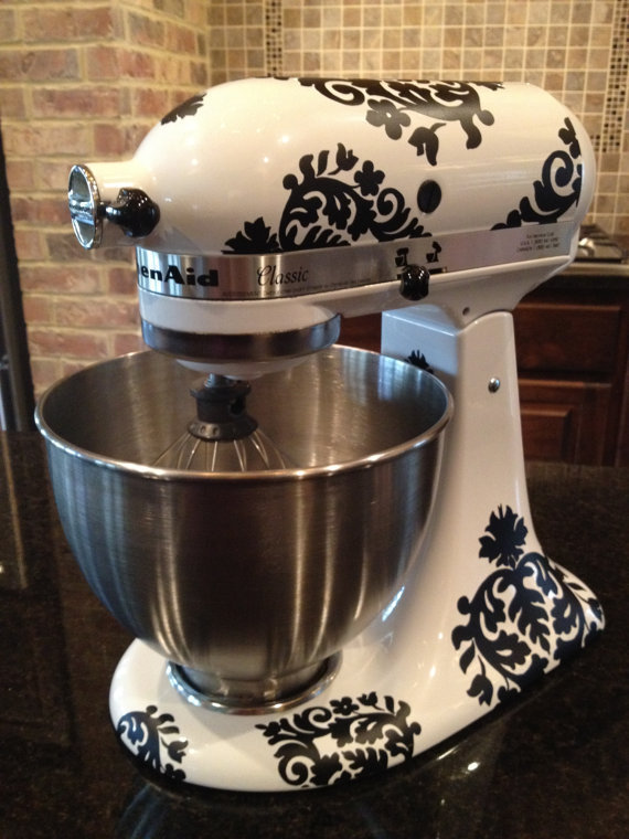 Kitchen Mixer Vinyl DecalsDamask by thewordnerdstudio on Etsy
