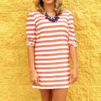 Striped Dress Zipper Back