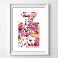 Chanel Art Print - Chanel Spring Floral Parfum Art illustration - Chanel Poster-Chanel Inspired Home Deco- Chanel Parfum Print - Fashion Art