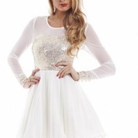 Sequin Mesh Long Sleeve Kick Out Skater Cream Dress