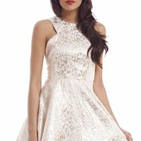Foil Cut In Kick Out Skater Dress