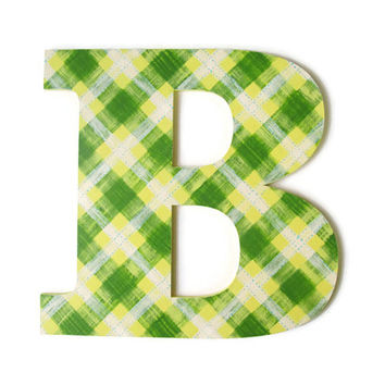 Decorative Letter B, hand painted plaid in yellow, green and white, wall hanging monogram, wooden wall letter