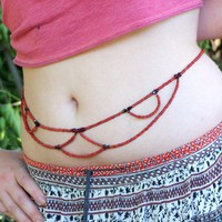 Handmade Bohemian Flower Burnt Sienna Decorative Waist Jewelry | peaceloveandallthingsjewelry - Jewelry on ArtFire