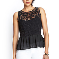 Embroidered Mesh Peplum Top