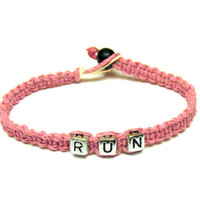 Bracelet for Runners, Light Pink RUN Hemp Jewelry, Made to Order