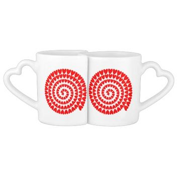 Red hearts Spiral Lovers' Mug Set