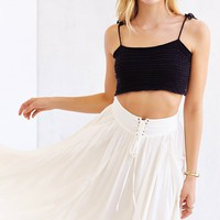 Ecote Lace-Up Front Midi Skirt - Urban Outfitters