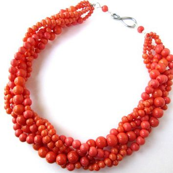 Orange Glass Pearl Twisted Necklace and Sterling Silver Earring Set