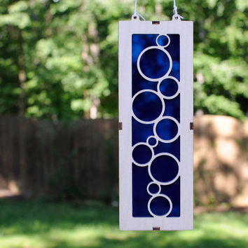 Bubbles Suncatcher in Wood and Vivid Blue Acrylic great for Windows or Walls