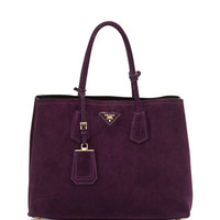 Prada Suede Medium Double-Pocket Tote Bag, Dark Purple (Prugna)