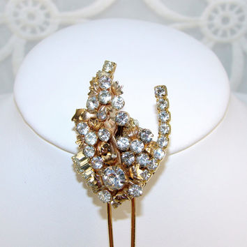 Gold Wedding Rhinestone Hair Comb Bridal Hairpin Vintage Flower and Leaves Jewelry Hairpiece Formal Ballroom Pageant Accessory