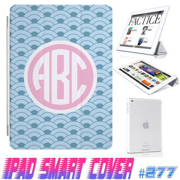 USA Custom Vintage Blue Lattice Monogram @ IPad Air Smart Cover  IPad Mini Retina Smart Cover  IPad 4/3/2 Case Magnetic Sleep Wake Case #277