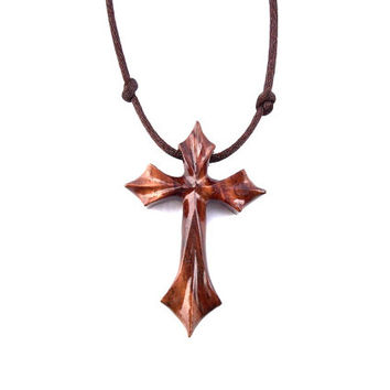 Wood Cross Necklace, Wooden Cross Pendant, Wooden Cross Necklace, Men Cross Necklace, Mens Wood Cross, Christian Jewelry, Hand Carved Cross