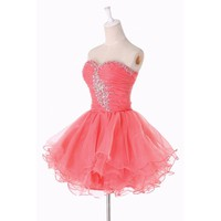 Fashion Plaza Homecoming Evening Cocktail Party Crystal Mini Short Dress D0131