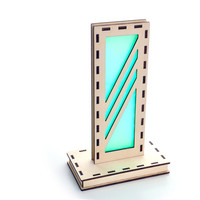 Minimalist Art Deco Table Top Night Light - LED Wood Lamp - Green - Sophistication Through Simplicity