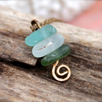 Sea Glass Jewelry from Hawaii - Zen Jewelry - Stacked Sea Glass Necklace - Beach Boho Jewelry - Zen Beach Glass Necklace by Mermaid Tears