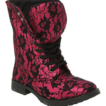 Millie Lace Fuchsia Boot