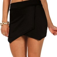 Black Scuba Envelope Skort