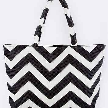 In Style Black/White Chevron Print Paper Straw Fashion Tote Bag