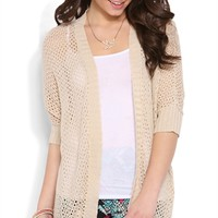 Three Quarter Sleeve Cocoon Cozy with Open Front