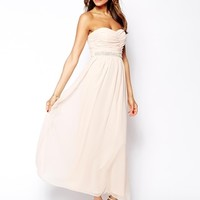 Elise Ryan Bandeau Maxi Dress with Embellished Waistband