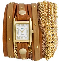 La Mer Collections Leather & Chain Wrap Bracelet Watch, 23mm x 30mm