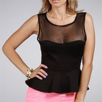 Black Sheer Peplum Top