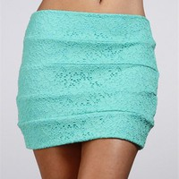 Mint Lace Banded Skirt :: www.windsorstore.com