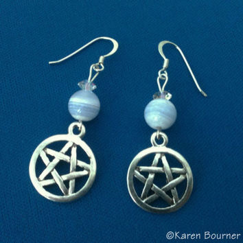 Blue Lace Agate Pentacle Pentagram Pagan Wiccan Earrings