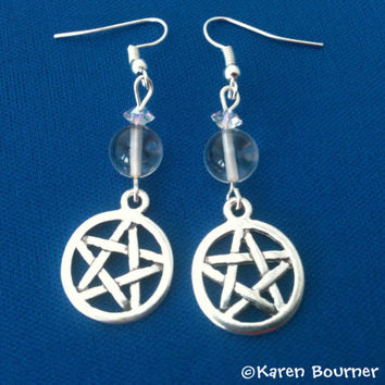 Rock Crystal Pentacle Pentagram Pagan Wiccan Earrings