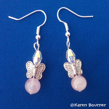 Rose Quartz and Butterfly Gemstone Earrings