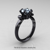 Modern Antique 14K Black Gold 1.5 Carat Aquamarine Solitaire Engagement Ring AR127-14KBGAQ