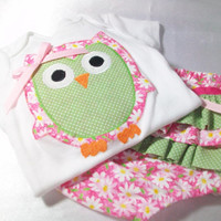 Owl Baby Gift Set - Baby Girl Clothes - Triple Ruffled Diaper Cover -Appliqued Bodysuit