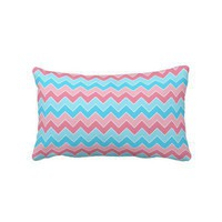 Pink and Blue Chevron Throw Pillows from Zazzle.com
