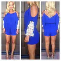 Bonita Off Shoulder Romper - ROYAL BLUE