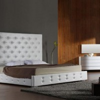 Tall White Leather Platform Bed - Opulentitems.com