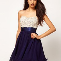 Little Mistress | Little Mistress Floral Applique Prom Dress at ASOS