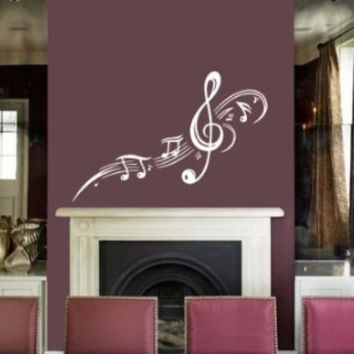 Housewares Vinyl Decal Treble Clef With Music Notes Pattern Home Wall Art Decor Removable Stylish Sticker Mural Unique Design for Room