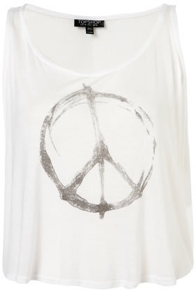 Peace Sign Crop Vest - Jersey Tops - Apparel - Topshop USA