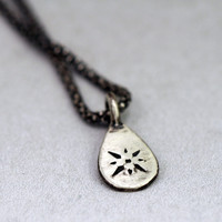 Oxidized Silver Teardrop Charm Necklace