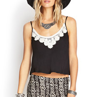 Embroidered Crochet Knit Cami