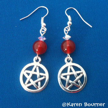 Carnelian Pentacle Pentagram Pagan Wiccan Earrings