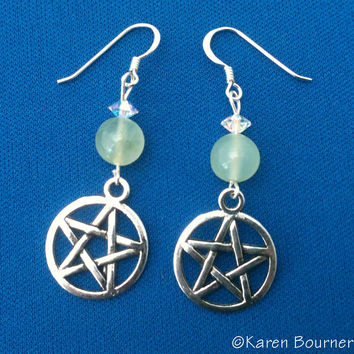 Chinese Jade Pentacle Pentagram Pagan Wiccan Earrings